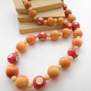Vintage Tribal Tan Pink Wood Nut Bead Necklace